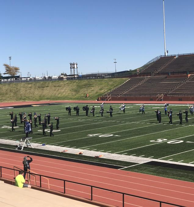 Band marching at contest