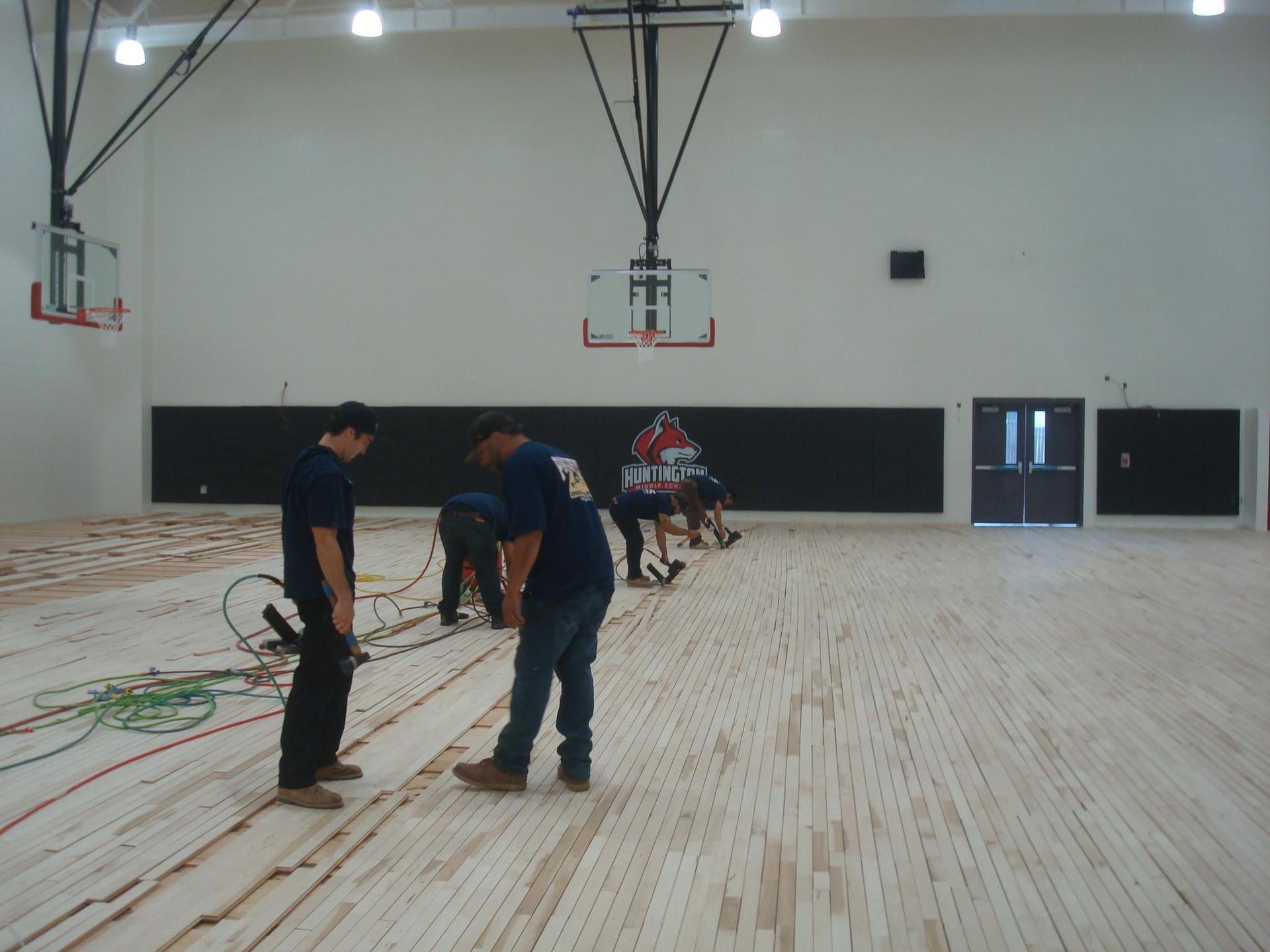 gym floor install