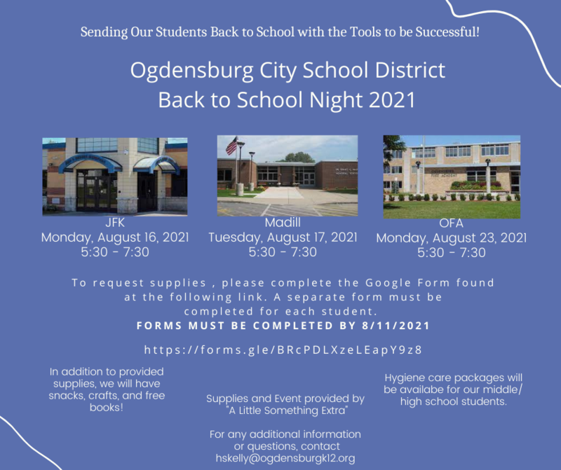Blue background. Pictures of JFK Elementary, Madill Elementary, and Ogdensburg Free Academy. White text reads