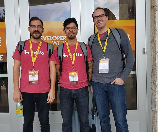 members of the tech support team at the Developer Week conference in Austin