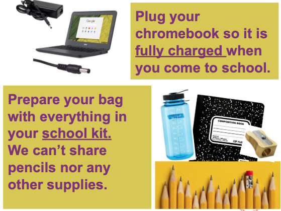 Charge your chromebook the night before. Get all your supplies ready.
