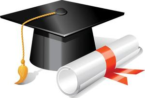 clip art of a graduation cap and diploma