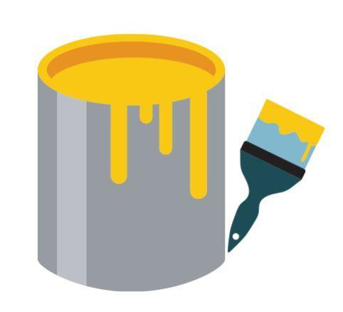 Paint bucket with yellow paint. The paint is dripping over the side of the bucket. Next to the bucket is a paintbrush with yellow paint on it.