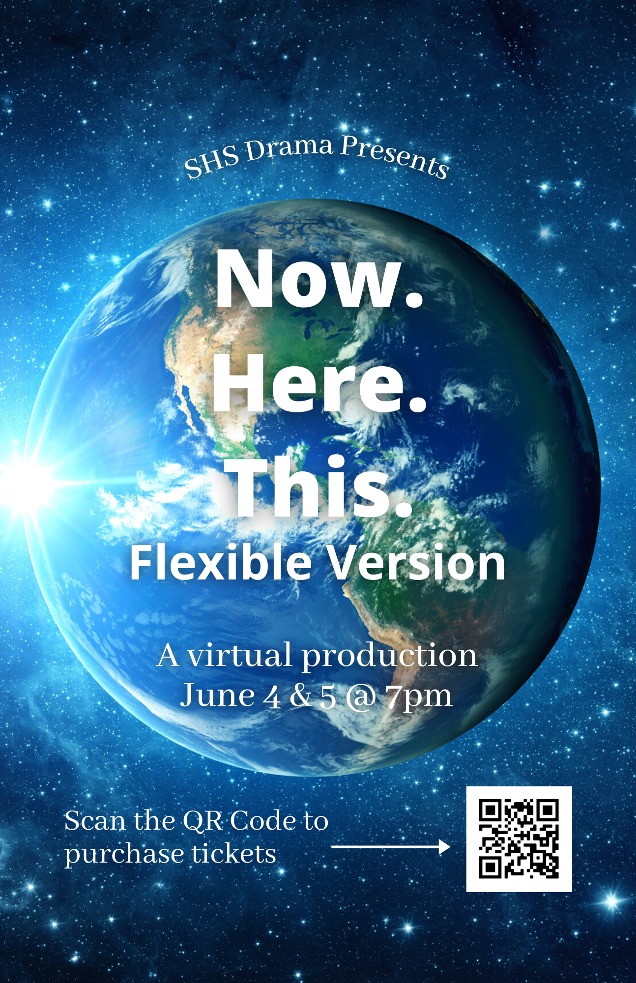 Flyer for the drama production of 'Now. Here. This.' All information in the flyer is also written as text on this page.