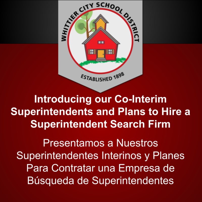 Introducing our Co-Interim Superintendents and Plans to Hire a Superintendent Search Firm
