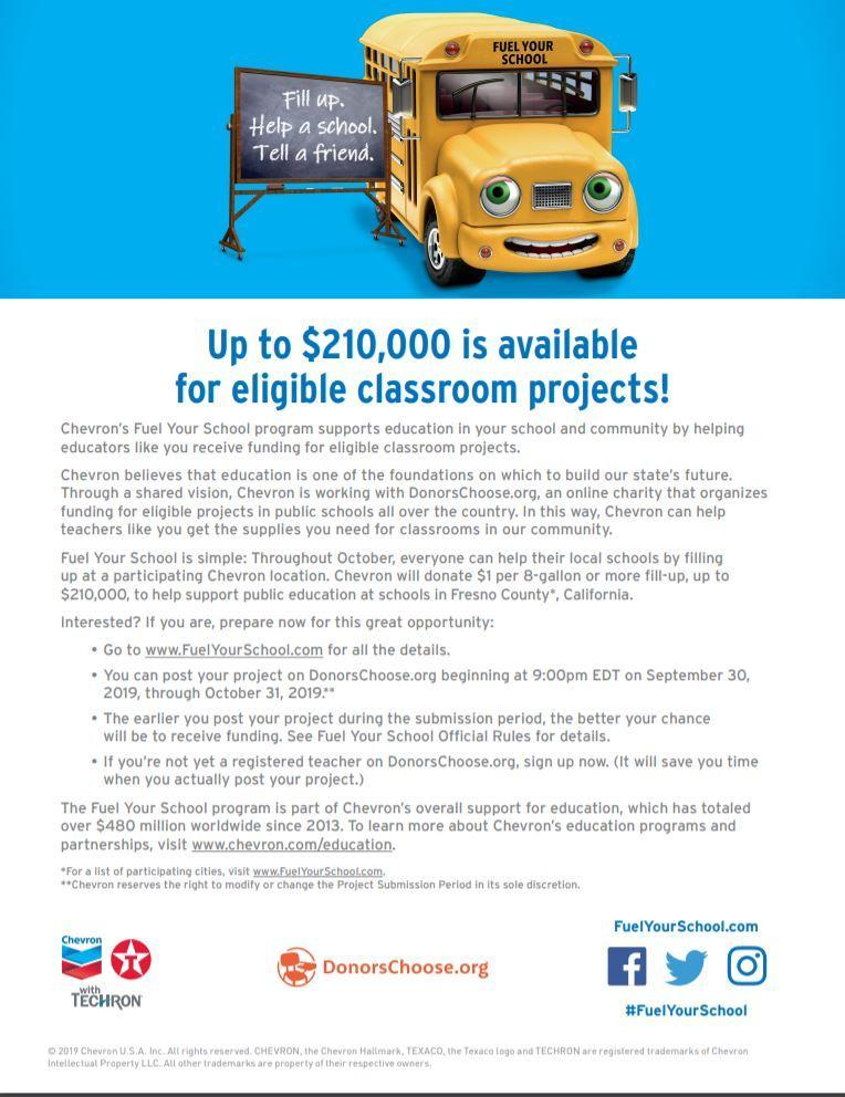 Chevron Fuel Your School Flyer