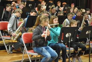 Pic of elementary students playing instruments