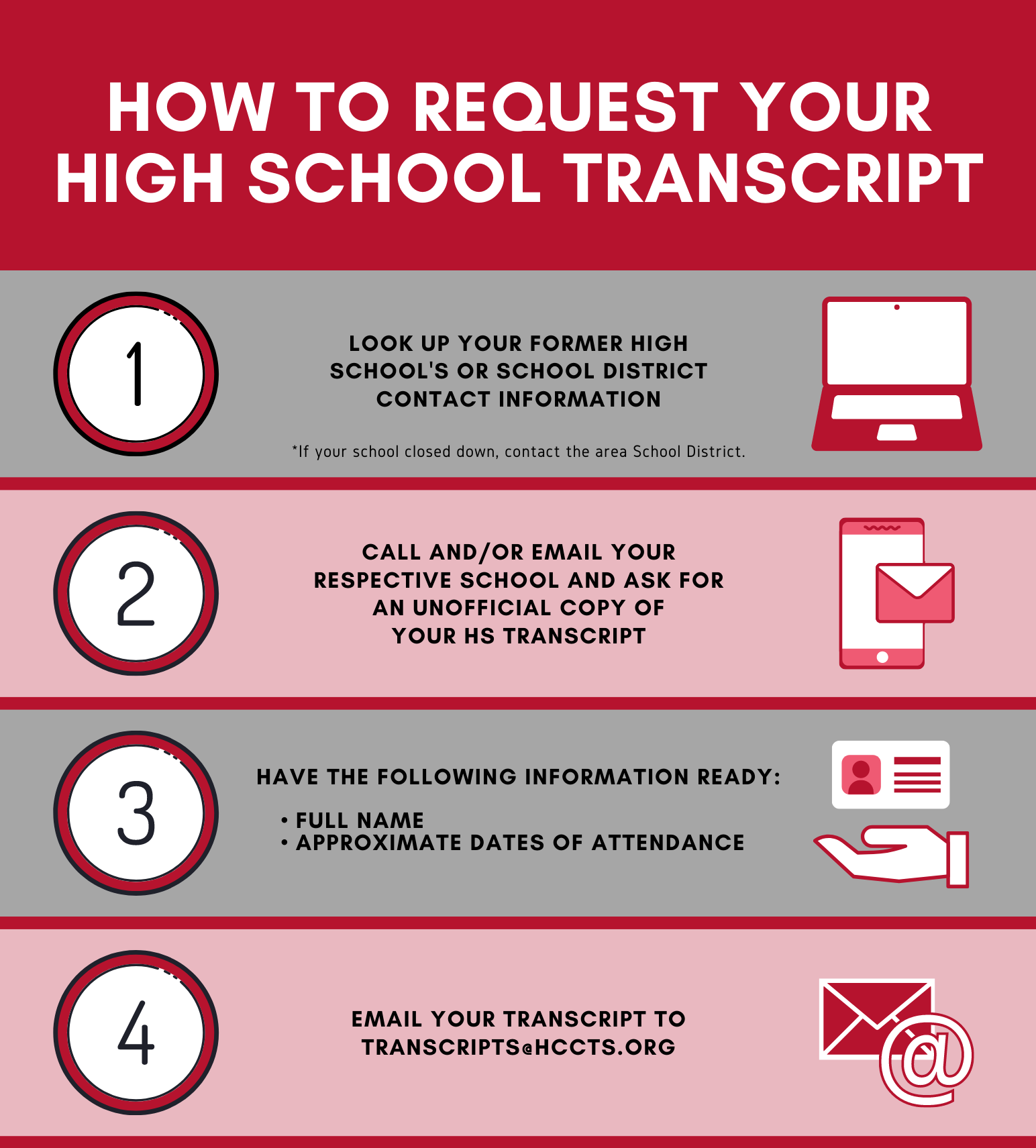 Email your transcript to transcripts@hccts.org