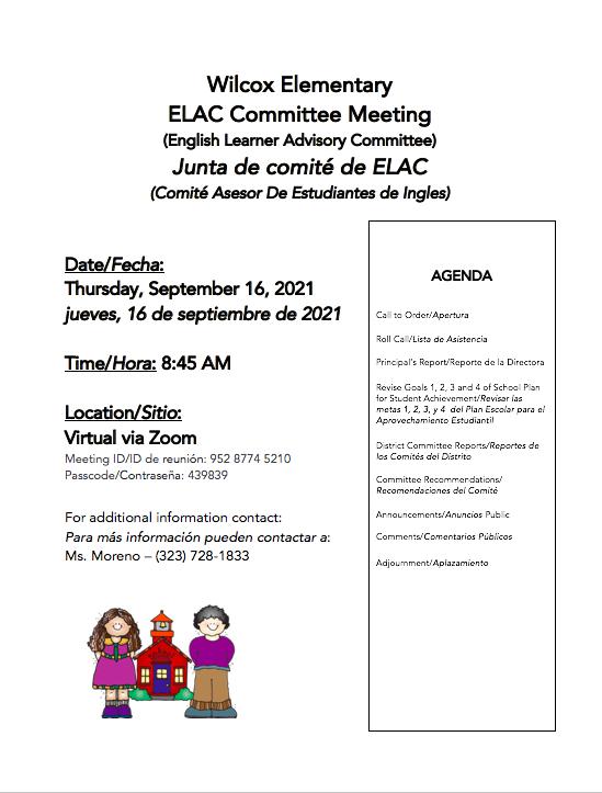 ELAC Committee flyer screenshot