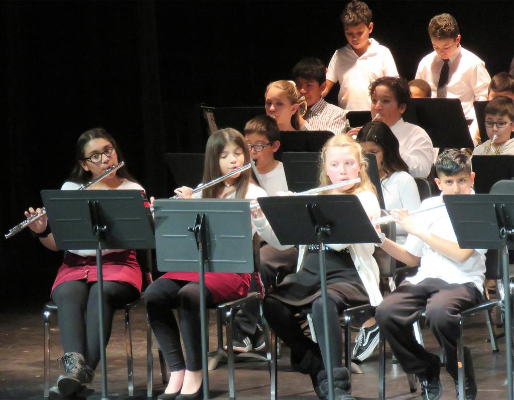 A close-up of one section of the fifth grade band