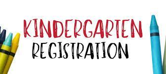 Kindergarten Registration banner with yellow, blue, green, red, and orange crayons