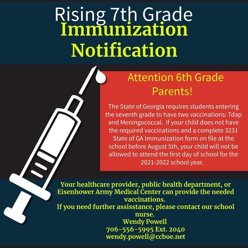 7th grade immunization