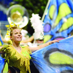 girl in butterfly costume performing