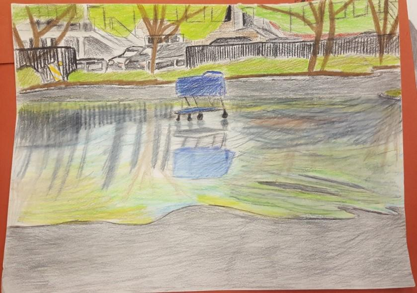 Drawing of a shopping cart and its reflection in a puddle