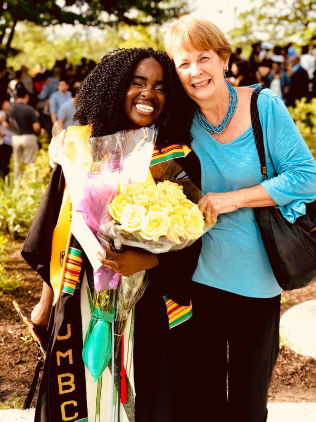 Pictured: Anna Gifty Opoku-Agyeman and former Head of Lower School, Anna Puma, at 2019 University of Maryland, Baltimore County Commencement