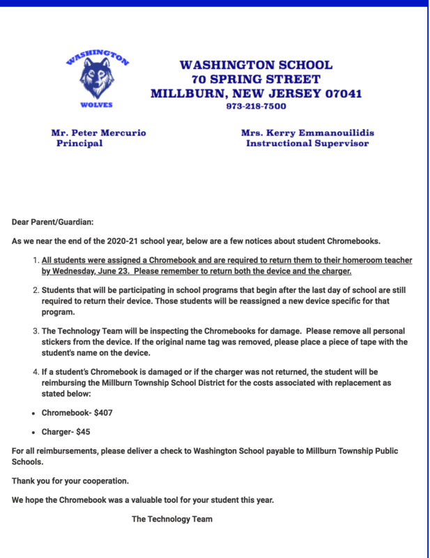 Thumbnail of the PDF stating that all chromebooks are to be collected to each designated building on or before June 23rd 2021.