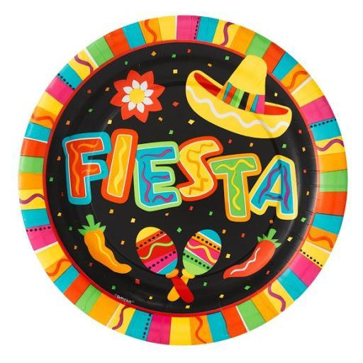 fiesta written in colorful letters surrounded by chili's and maracas.