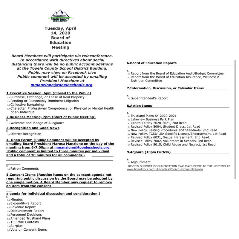 image of the BOE agenda for April 2020