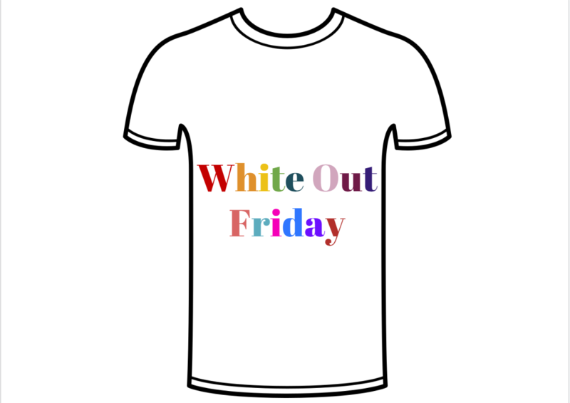 White Shirt with colorful letters