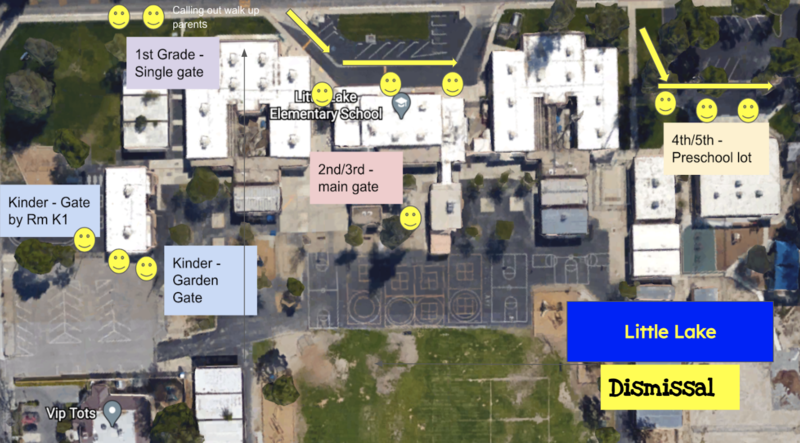 Hybrid Dismissal map that shows the following exit gates:TK/Kinder - Parking off of Acacia  1st Grade - North Meridian Gate 2nd Grade - Front Office Parking Loop (Please drive through the parking lot loop)