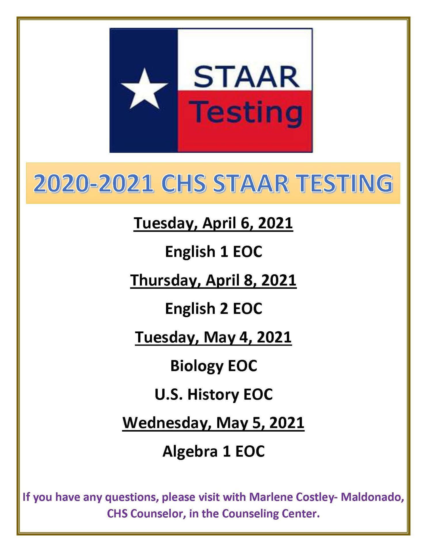 STAAR 2020-2021 Test dates