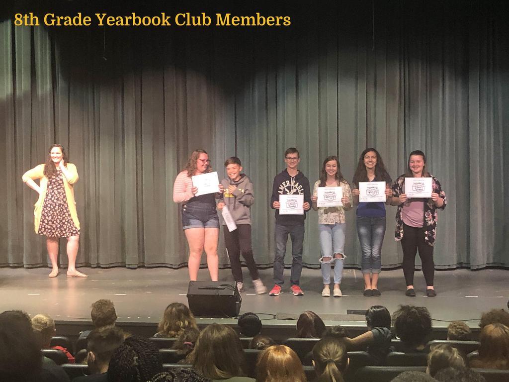 8th Grade Yearbook Club Members