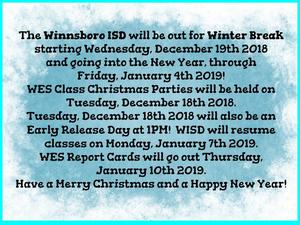 WISD Winter Break 2018-2019