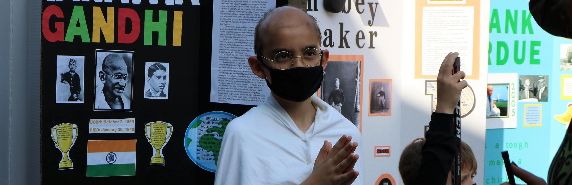 Photo of wilson 5th grader dressed as Gandhi.