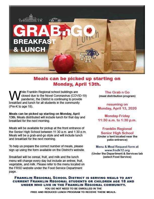 FR Grab n Go food program resumes April 14, 2020.