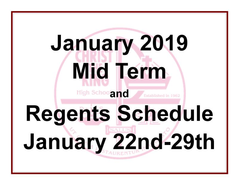 Mid Term and Regents Schedule Featured Photo