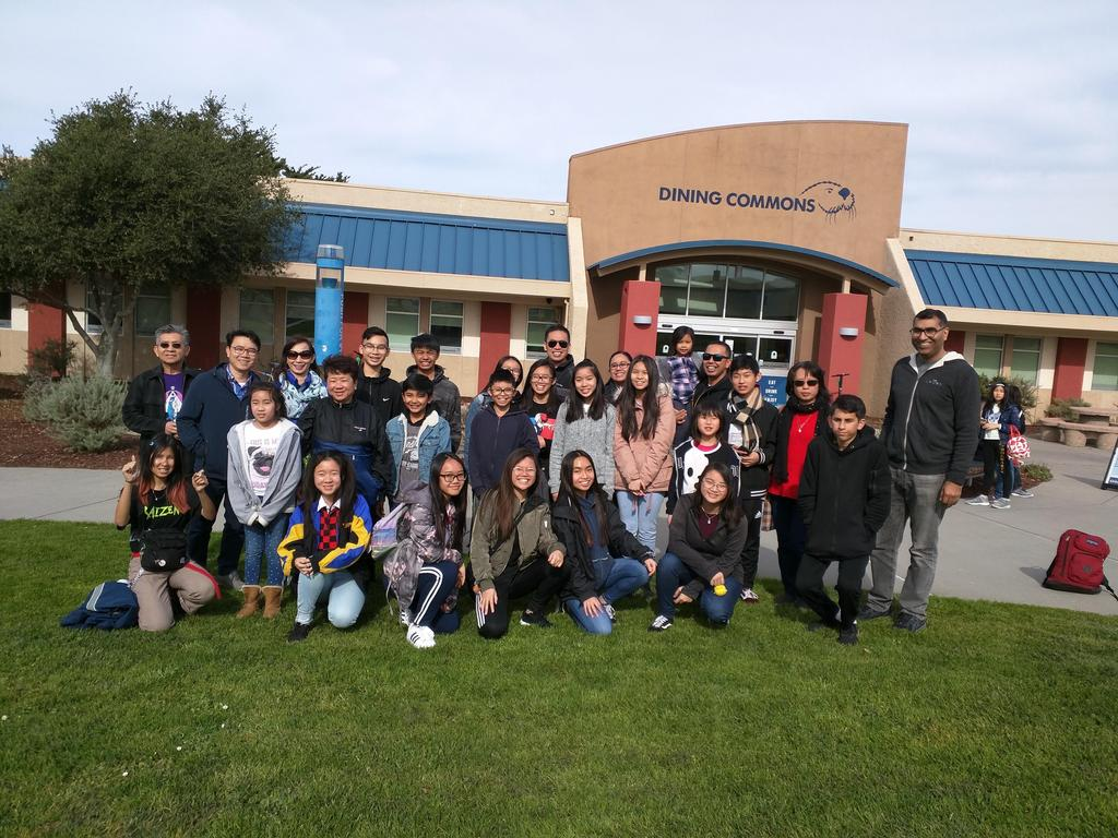 A group of students with their families at CSU Monterey.