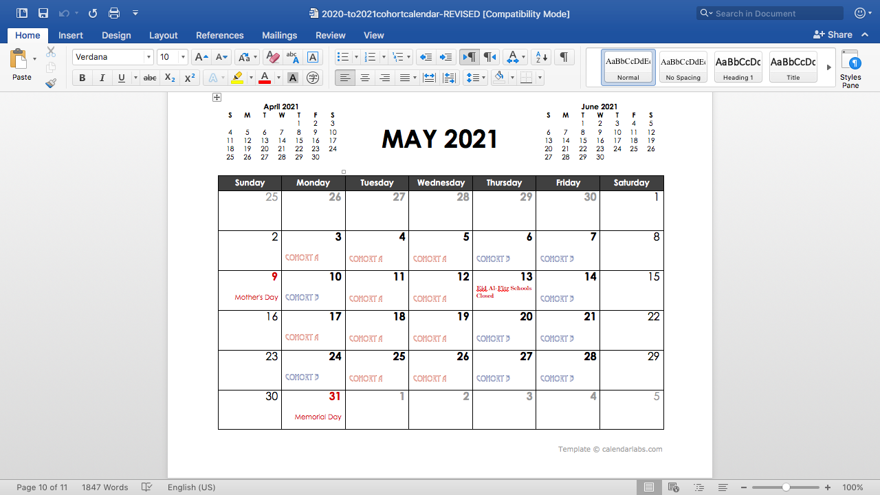 May cohort calendar