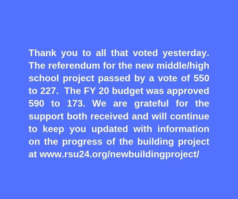 Referendum for new Middle/High School Project has Passed and the FY20 Budget was Approved by Voters Featured Photo