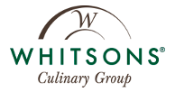 Whitsons logo, text with a curvy line