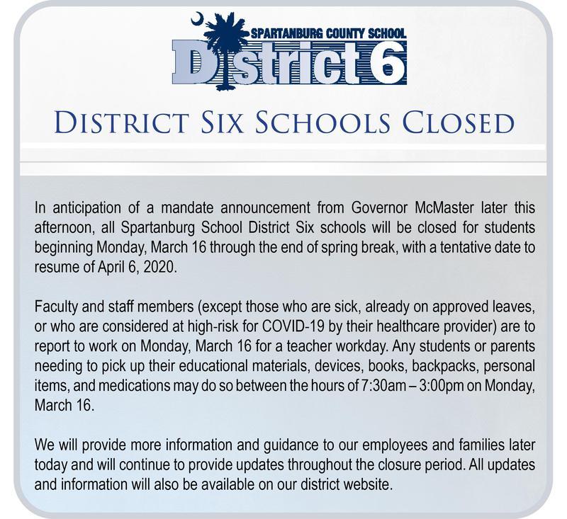 District Six Schools Closed