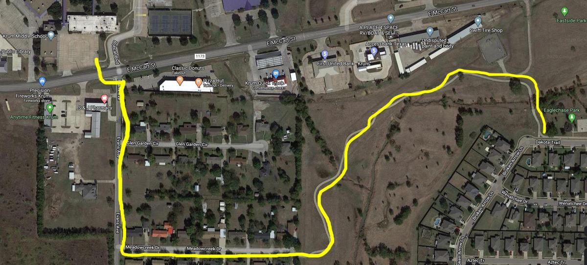 highlighted satellite image shows walking path