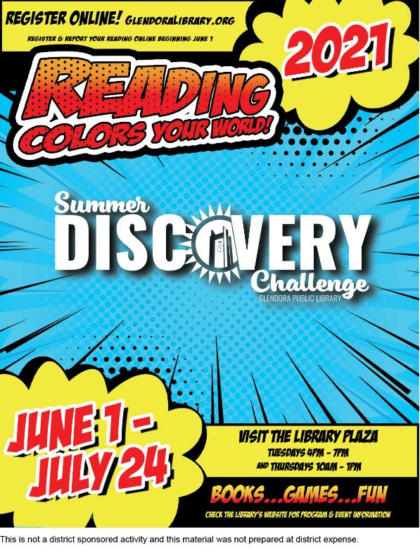 glendora public library summer reading flyer