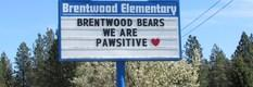 Reader board outside our school saying Brentwood Bears are PAWSitive