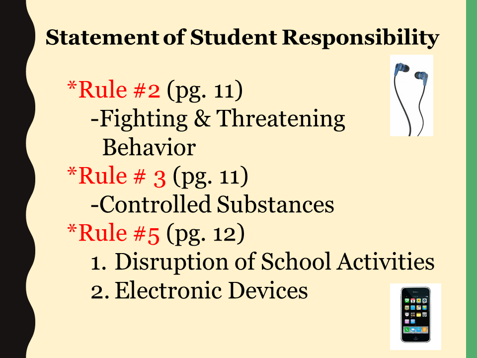 Statement of Student Responsibility power point slide