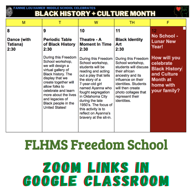 Week schedule of activities for Black History Month in Google Classroom!
