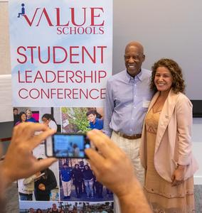 Dr. Roberts with Ana Chavez at Student Leadership Conference