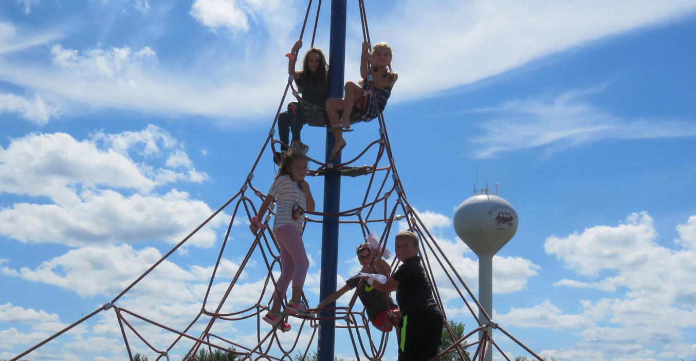 The climbing tower is always a favorite spot for Page students on the playground.