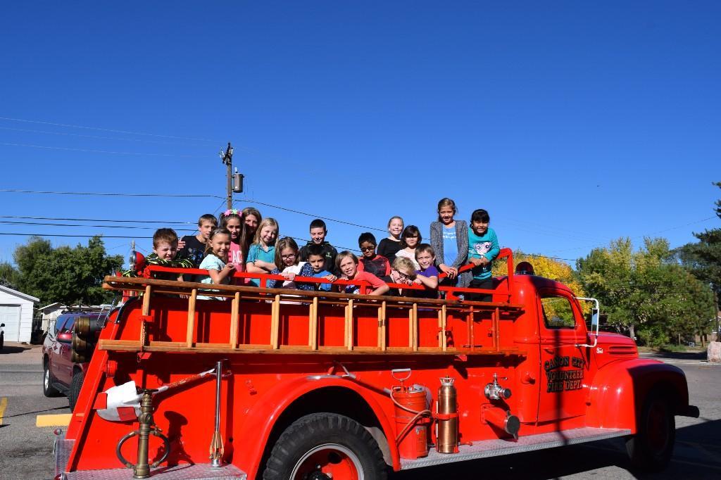 3rd Grade on Fire Truck Ride