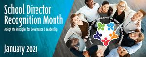 White lettering that says, School Director Recognition Month January 2021. Men and women in a circle looking up