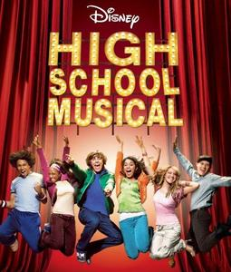 Image of six high school students jumping up in the air in front of a red curtain with the words
