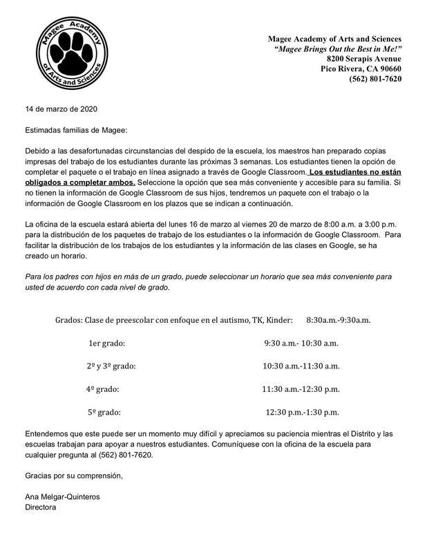 Spanish Parent letter