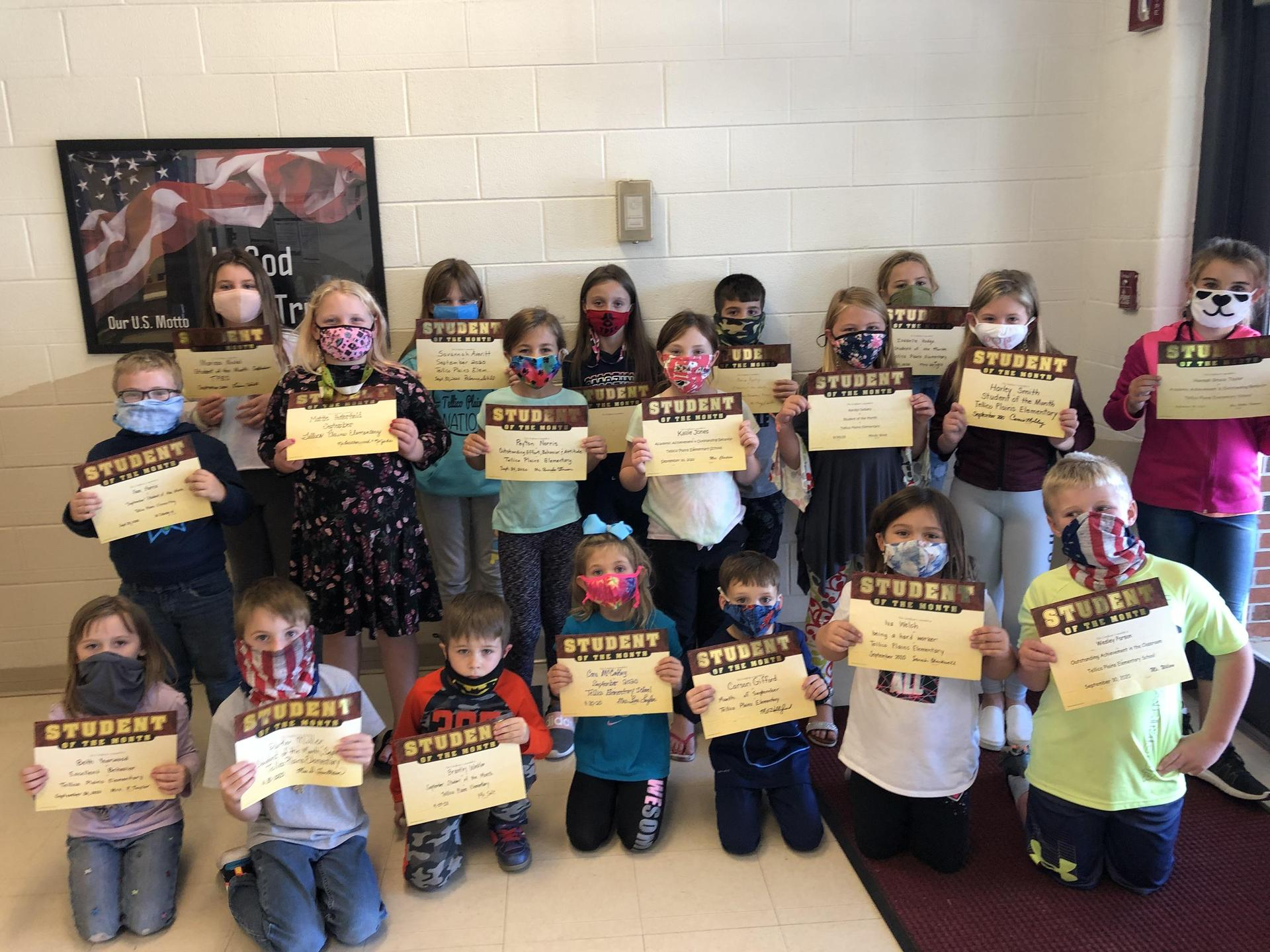 Picture of September 2020 Students of the Month at TPES