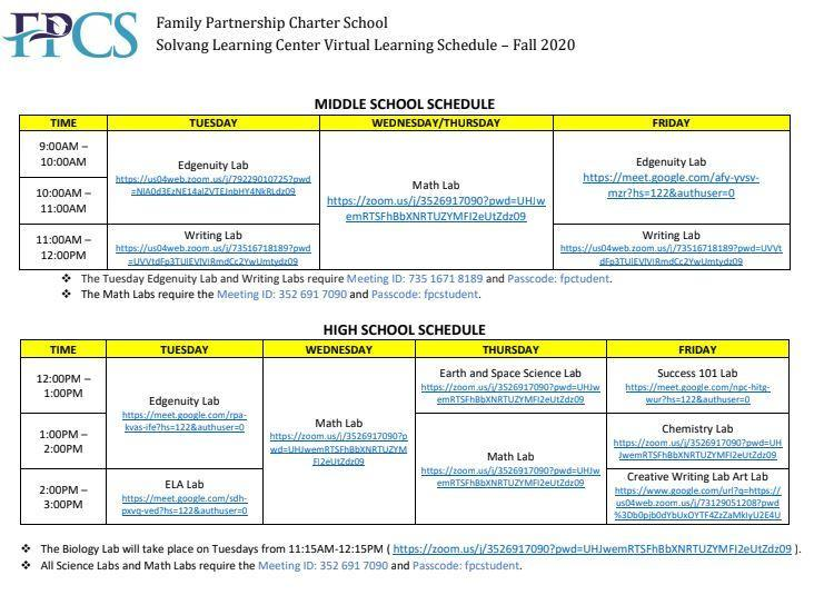 Virtual Learning Schedule Fall 2020 with Class Links (Solvang)