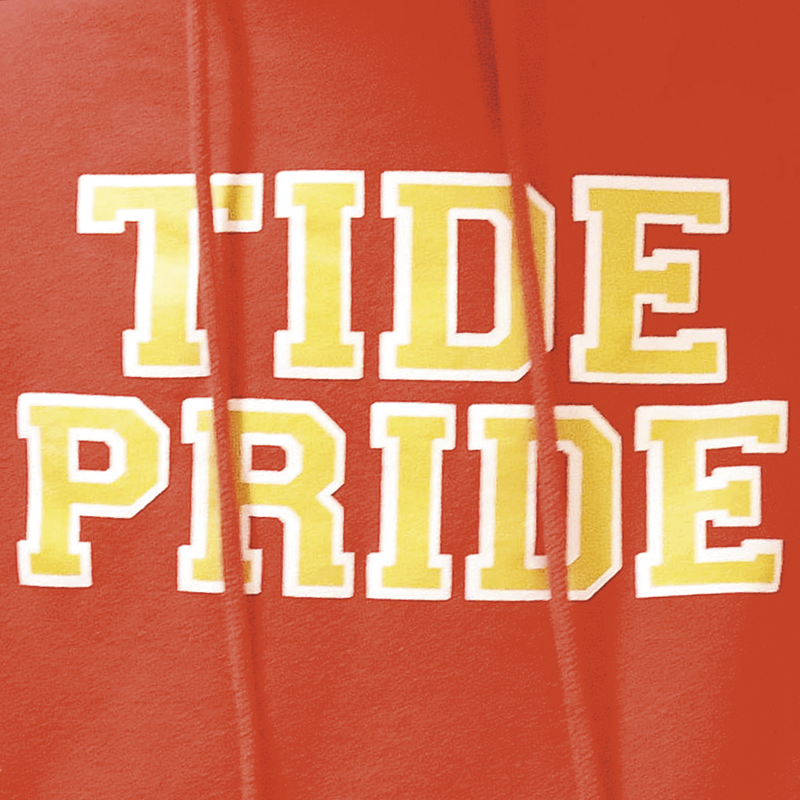 Closeup of a red sweatshirt with the words