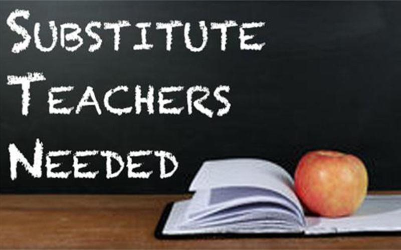sub teachers needed book and apple